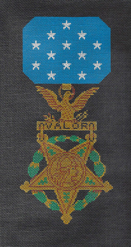 Military~Medal of Honor on Black handpainted Needlepoint Canvas~by JP Needlepoint