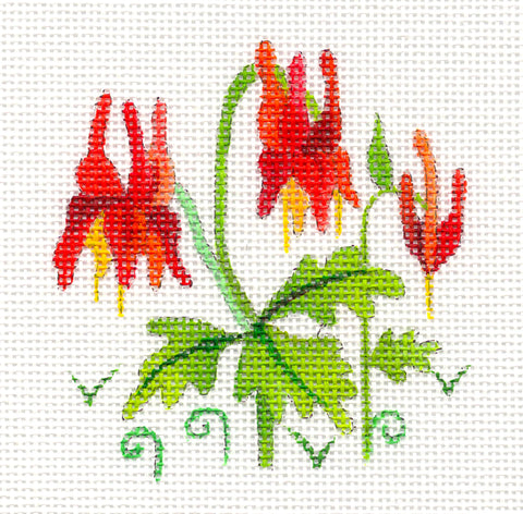 Canvas~Columbine Flower Ornament on Hand Painted Needlepoint Canvas by JulieMar