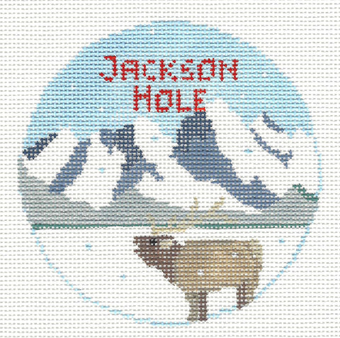 Travel Round~Wyoming Jackson Hole handpainted Needlepoint Canvas~by Kathy Schenkel**MAY NEED TO BE SPECIAL ORDERED**