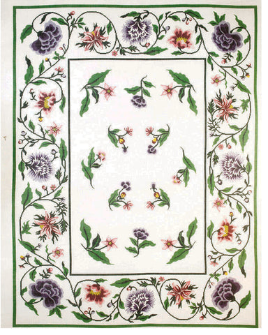 Rug~ Jacobean Floral in Purple & Pink Handpainted Rug by LEE Needle Art 12 Mesh