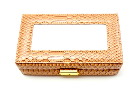Accessories~Almond Leather Jewelry Box with Interior Compartments for Needlepoint Canvas LEE