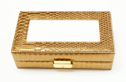 Accessories~Gold Leather Jewelry Box with Interior Compartments for Needlepoint Canvas LEE
