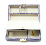 Accessories~Purple Leather Jewelry Box with Interior Compartments for Needlepoint Canvas LEE