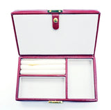 Accessory~LEE Wine Leather Jewelry Box with Interior Compartments for Needlepoint