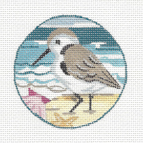 Round~Sandpiper With Shell Ornament on Hand Painted Needlepoint Canvas by JulieMar