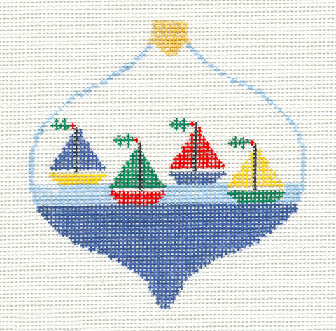 Bauble~Four Sailboats handpainted Needlepoint Canvas~by Kathy Schenkel** SP.ORDER**