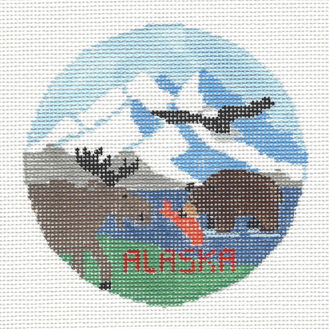Travel Round~Alaska The Last Frontier handpainted Needlepoint Canvas~by Kathy Schenkel**MAY NEED TO BE SPECIAL ORDERED**
