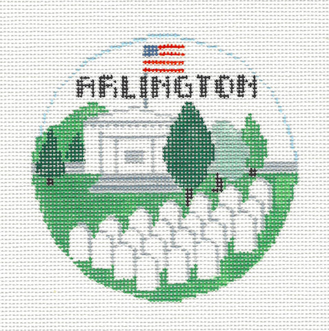 Travel Round~Arlington National Cemetery handpainted Needlepoint Canvas~by Kathy Schenkel **MAY NEED TO BE SPECIAL ORDERED**
