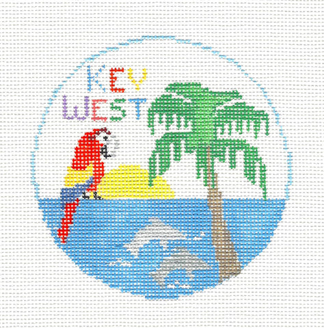 Travel Round~Florida Key West handpainted Needlepoint Canvas~by Kathy Schenkel **SP.ORDER**