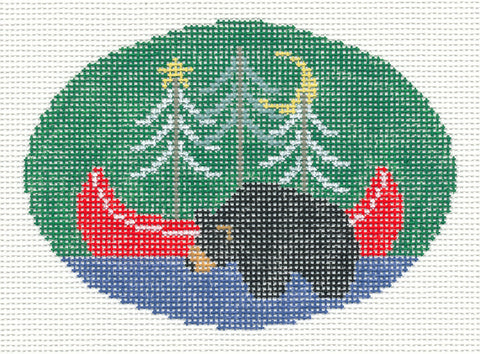 Oval~Black Bear with Red Canoe handpainted Needlepoint Canvas~by Kathy Schenkel