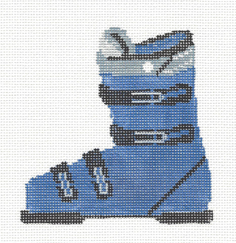 Canvas~Ski Boot in Blue Ornament handpainted Needlepoint Canvas~by Kathy Schenkel** SP.ORDER**