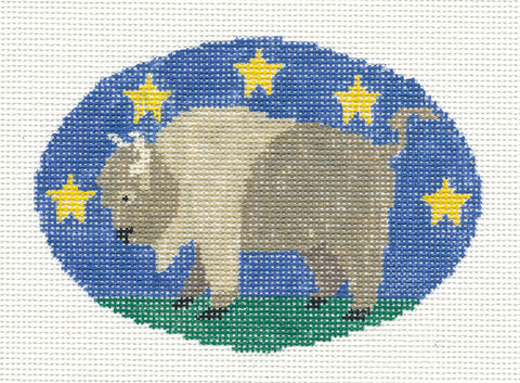 Oval~Buffalo with Stars handpainted Needlepoint Canvas~by Kathy Schenkel **SP.ORDER**