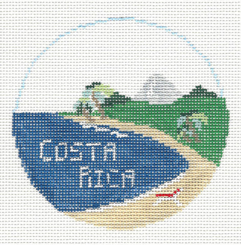 Travel Round~Costa Rica handpainted Needlepoint Canvas~by Kathy Schenkel**MAY NEED TO BE SPECIAL ORDERED**