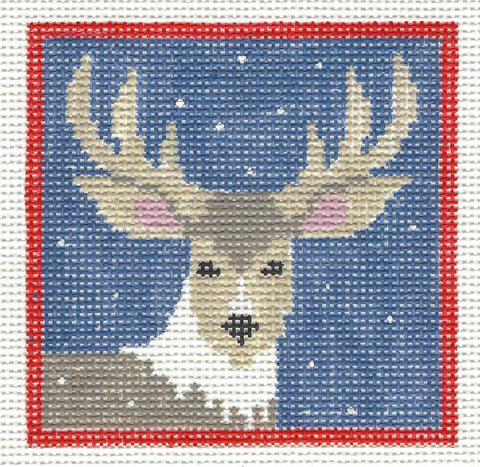 Canvas~Deer with Stars handpainted Needlepoint Canvas~by Kathy Schenkel **SP.ORDER**