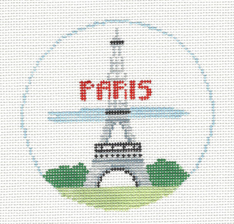 Travel Round~Paris France the Eiffel Tower handpainted Needlepoint Canvas~by Kathy Schenkel**MAY NEED TO BE SPECIAL ORDERED**