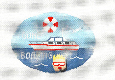 Oval~Gone Boating handpainted Needlepoint Canvas~by Kathy Schenkel