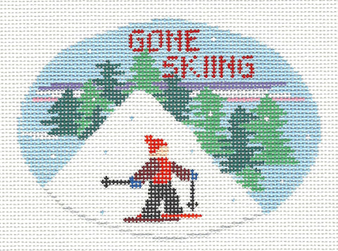 Oval~Gone Skiing handpainted Needlepoint Canvas~by Kathy Schenkel