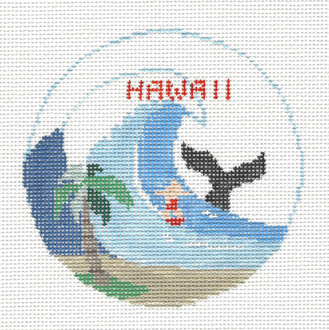Travel Round~Hawaii State handpainted Needlepoint Canvas~by Kathy Schenkel**MAY NEED TO BE SPECIAL ORDERED**