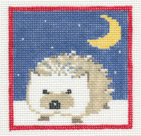 Canvas~Hedgehog in Night Sky handpainted Needlepoint Canvas~by Kathy Schenkel ***May Need to be SP.ORDER***