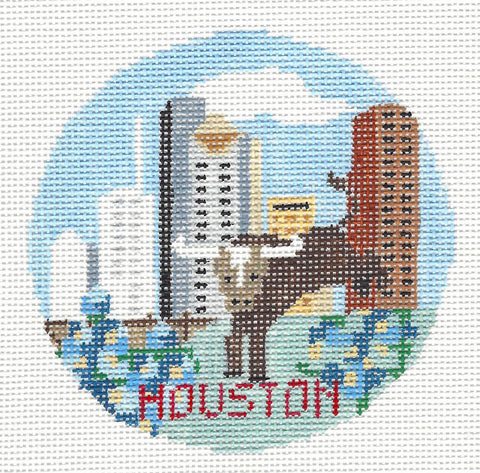Travel Round~Houston Texas handpainted Needlepoint Canvas~by Kathy Schenkel**MAY NEED TO BE SPECIAL ORDERED**