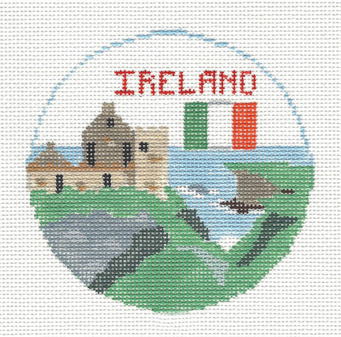 Travel Round~Ireland handpainted Needlepoint Canvas~by Kathy Schenkel**MAY NEED TO BE SPECIAL ORDERED**