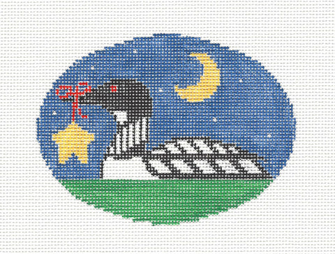 Oval~Loon with Star handpainted Needlepoint Canvas~by Kathy Schenkel