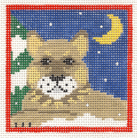 Canvas~Cougar Mountain Lion in the Night Sky handpainted Needlepoint Canvas~by Kathy Schenkel