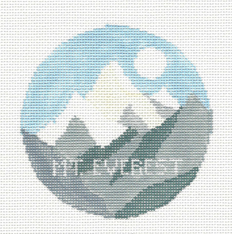 Travel Round~Mt. Everest handpainted Needlepoint Canvas~by Kathy Schenkel**MAY NEED TO BE SPECIAL ORDERED**