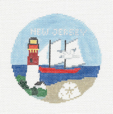 Travel Round~New Jersey handpainted Needlepoint Canvas~by Kathy Schenkel**MAY NEED TO BE SPECIAL ORDERED**