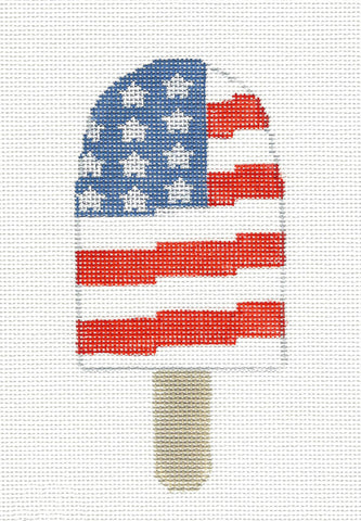Dream Bar~Patriotic Ice Cream Ornament handpainted Needlepoint Canvas~by Kathy Schenkel