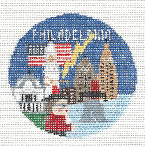 Travel Round~Philadelphia Pennsylvania handpainted Needlepoint Canvas~by Kathy Schenkel**MAY NEED TO BE SPECIAL ORDERED**
