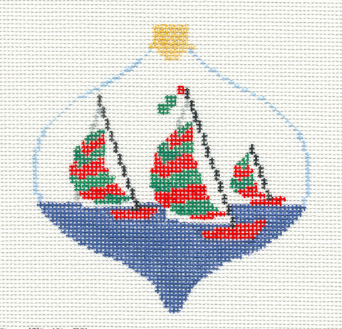Bauble~Racing Sailboats handpainted Needlepoint Canvas~by Kathy Schenkel