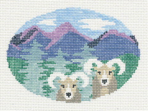 Oval~Bighorn Sheep handpainted Needlepoint Canvas~by Kathy Schenkel