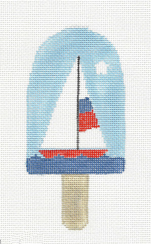 Dream Bar~Sailboat on the Water Ice Cream Ornament handpainted Needlepoint Canvas~by Kathy Schenkel