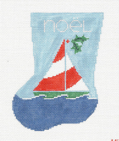 Stocking~Noel Sailboat handpainted Needlepoint Canvas~by Kathy Schenkel