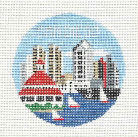 Travel Round~San Diego California handpainted Needlepoint Canvas~by Kathy Schenkel**MAY NEED TO BE SPECIAL ORDERED**