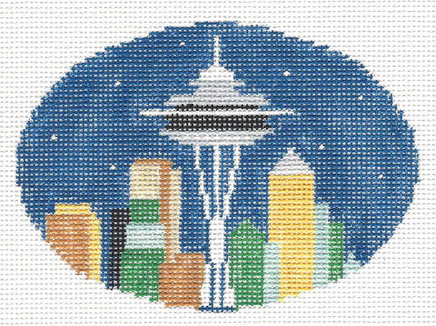 Oval~Seattle Space Needle handpainted Needlepoint Canvas~by Kathy Schenkel