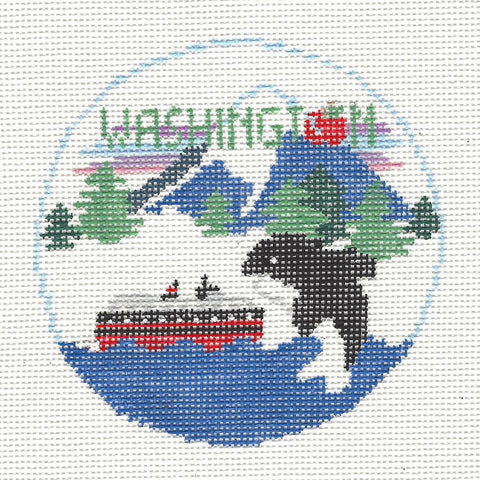 Travel Round~Washington handpainted Needlepoint Canvas~by Kathy Schenkel**MAY NEED TO BE SPECIAL ORDERED**