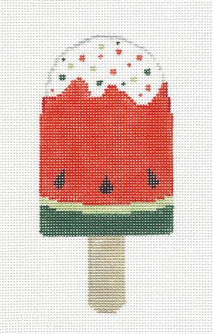Dream Bar~Watermelon Ice Cream Ornament HP Needlepoint Canvas~by Kathy Schenkel** SP.ORDER**