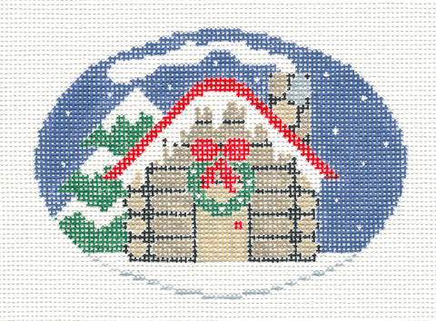 Oval~Winter Cottage handpainted Needlepoint Canvas~by Kathy Schenkel