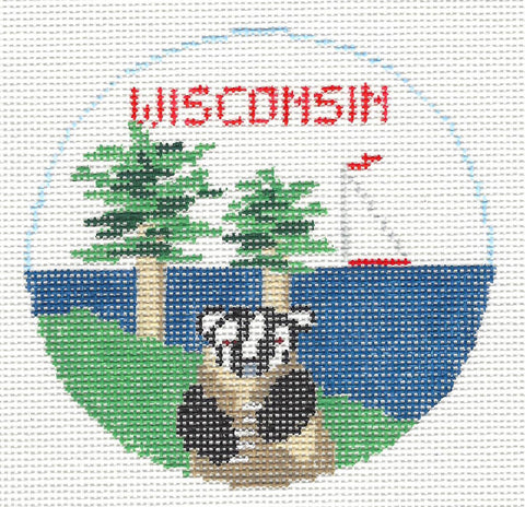 Travel Round~Wisconsin handpainted Needlepoint Canvas~by Kathy Schenkel**MAY NEED TO BE SPECIAL ORDERED**