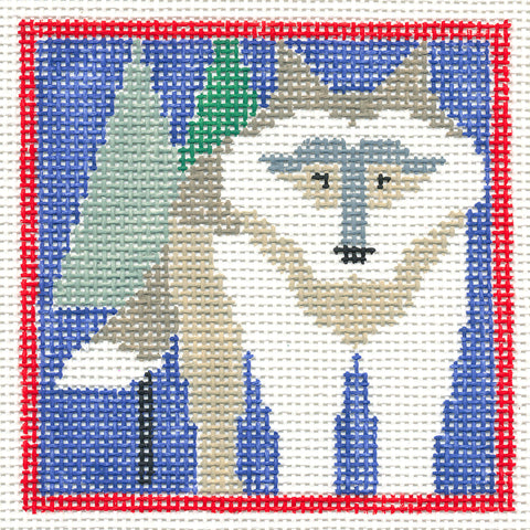 Canvas~Wolf in the Forest handpainted Needlepoint Canvas~by Kathy Schenkel