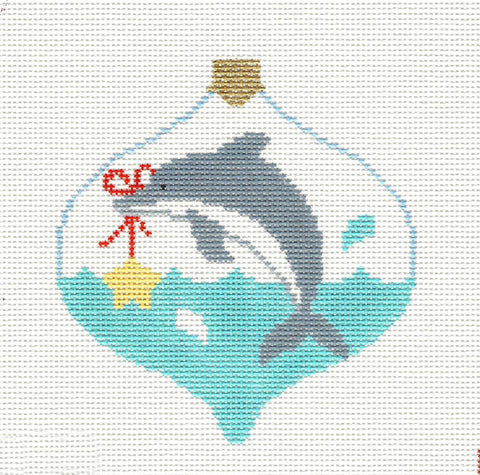 Bauble~Dolphin Holding a Star handpainted Needlepoint Canvas~by Kathy Schenkel