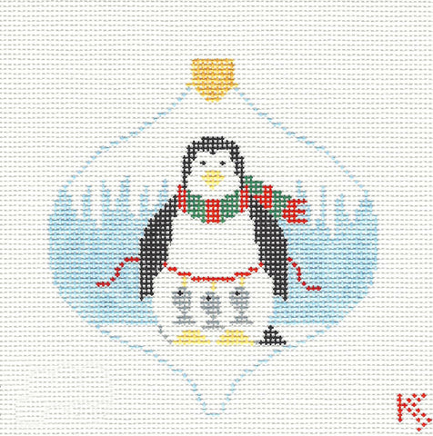Bauble~Fishing Christmas Penguin handpainted Needlepoint Canvas~by Kathy Schenkel