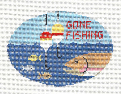 Oval~Gone Fishing handpainted Needlepoint Canvas~by Kathy Schenkel