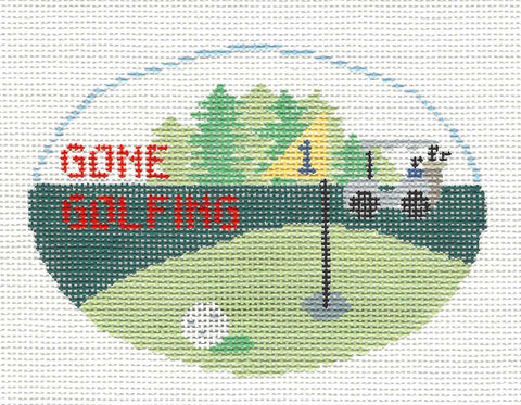 Oval~Gone Golfing handpainted Needlepoint Canvas~by Kathy Schenkel