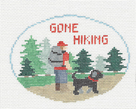 Oval~Gone Hiking handpainted Needlepoint Canvas~by Kathy Schenkel *** SPECIAL ORDER ***