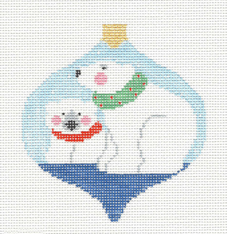 Bauble~Holiday Polar Bears handpainted Needlepoint Canvas~by Kathy Schenkel