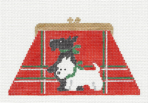 Canvas~Two Scotties on a Purse handpainted Needlepoint Canvas~by Kathy Schenkel **SP.ORDER**