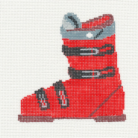 Canvas~Ski Boot in Red Ornament handpainted Needlepoint Canvas~by Kathy Schenkel** SP.ORDER**
